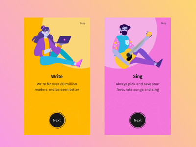 Onboarding screen mobile app design userinterfacedesign userinterface illustration yellow pink cool gradient blush android mobile figmadesign write sing bright uiux onboarding ui onboarding figma