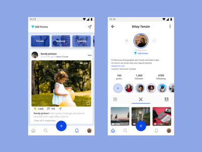 Home page and Profile Section share photos social network mobile ui mobile figmadesign mobile app design profile page inspired room mobile app figma visual design house ui home screen profile design socialmedia social home profile