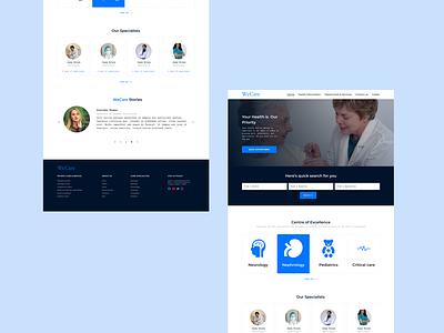 Hospital Website- Home page health care covid patients webdesigner figma design ui design homepage design minimal blue webdesign web home figna doctors healthcare health hospital