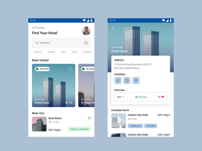 Hotel Room Booking Mobile App design figmadesign mobile app design screen app bookingapp hotel uichallange 100dayuichallenge minimal aesthetic blue figma userinterface uiux android mobile
