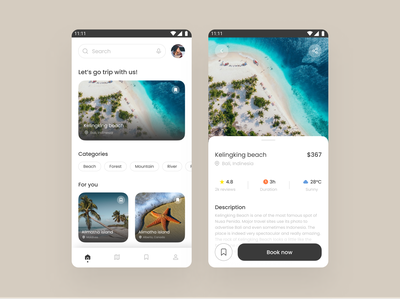 Trip Booking App book beach appdesign android mobile userexperience userinterface aesthetic minimal figmadesign figma designinterface uiux booking planning trip