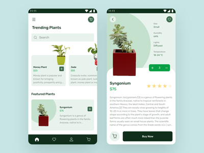 Ecommerce mobile app for plants user experience userinterface user figma mobile mobile app design design uiux figmadesign plants minimal green features sell buy ecommerce ui
