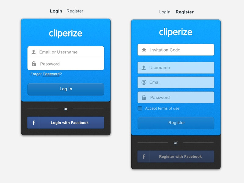 Cliperize Login Page cliperize app web webapp ui ux bookmark music video subscribtion email