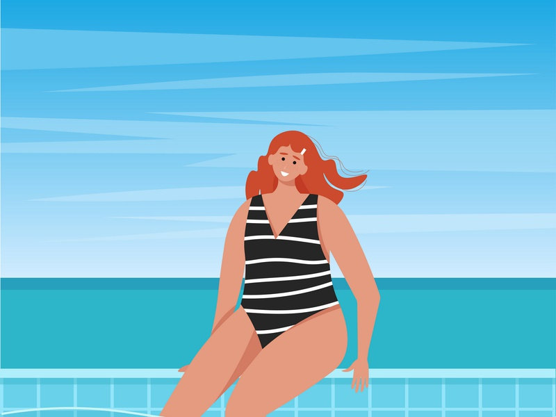 Woman in the pool with ocean background happy cute beach sea ocean seasonal tourism swim relax recreation sun vacation pool girl woman summer time summer vector background illustration