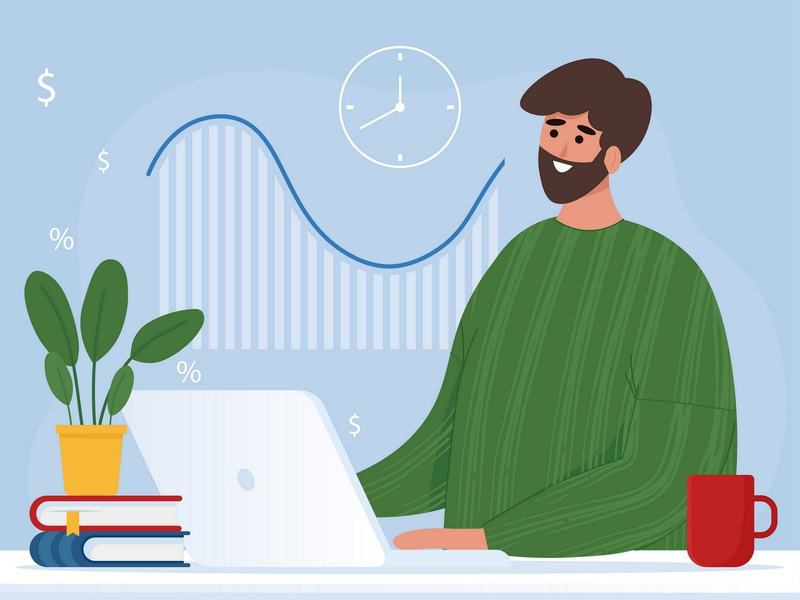 Man working at the computer and drinking coffee economic character landingpage flat computer work laptop workplace freelance office work office design business illustration vector illustration