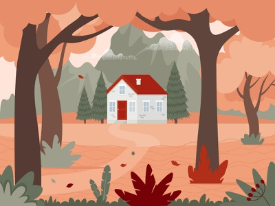 Autumn landscape with a house in the woods and mountains woodland vector thanksgiving
