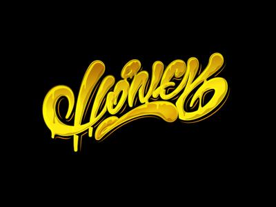 HONEY леттеринг каллиграфия bee honey vector typography design illustration logotype type brushpen logo lettering calligraphy