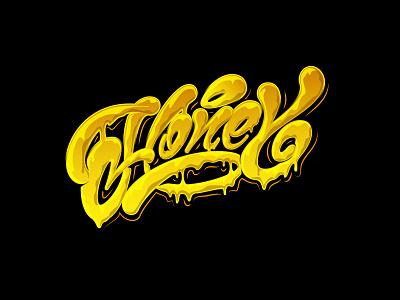 Honey #2 граффити леттеринг каллиграфия мед honey graffiti typography design illustration logotype type brushpen logo lettering calligraphy