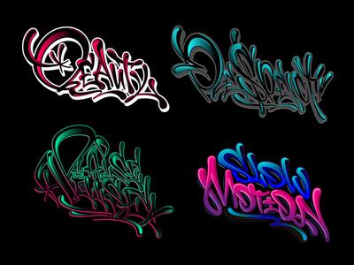LETTERING SET 12 / GRAFFITI LIQUID STYLE леттеринг каллиграфия type graffiti vector typography design illustration logotype logo lettering calligraphy