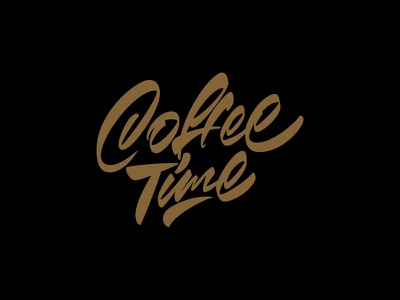 Coffee time coffee cafe typography illustration леттеринг каллиграфия logotype type brushpen logo lettering calligraphy