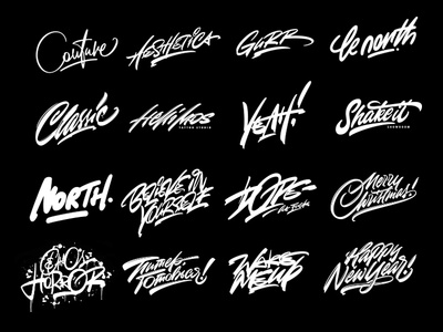Lettering set vol. 11 type signature logo behance collection lettering design clothing calligraphy pen brush brand