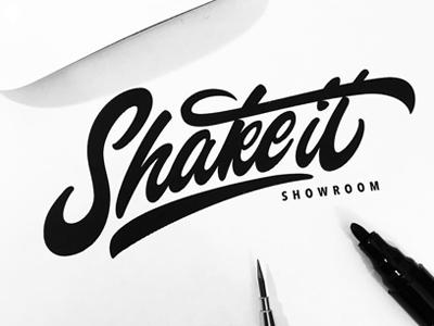 Shake it showroom clothing brand identity font type logotype logo каллиграфия леттеринг calligraphy lettering