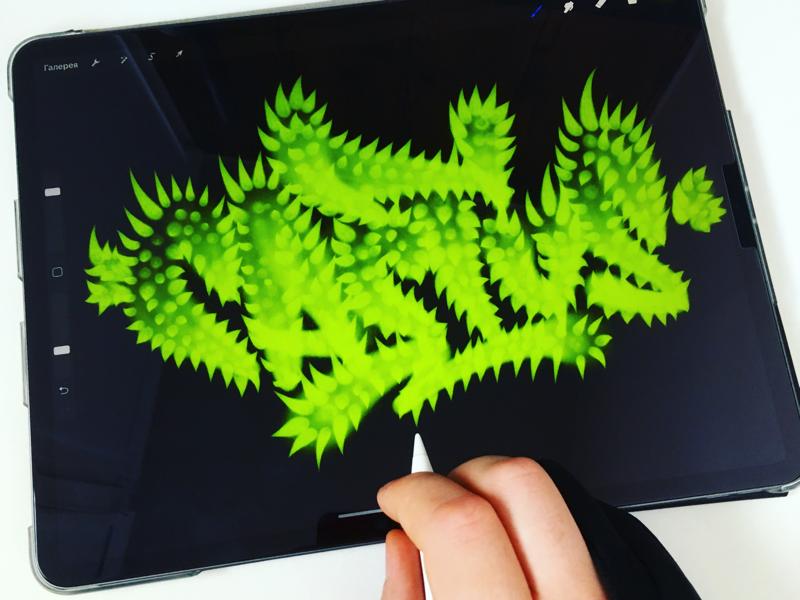 Cactus ipadpro procreate graffiti spray каллиграфия леттеринг type logotype logo lettering calligraphy brushpen