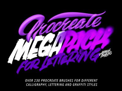 Procreate brush megapack procreate typography logotype logo type brushpen calligraphy lettering