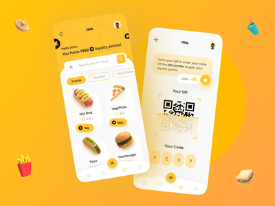 Food Loyalty Points App ux research designer 2021 trend loyalty points food app cleanui trendy modern ux ui minimalism minimalist food design minimal