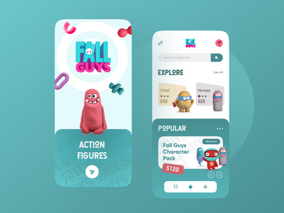 Fall Guys Figurines App trendy cleanui ui minimalist game fall guys interface interface design vibrant colorful minimal ecommerce appdesign uiux ux app graphic design 3d animation