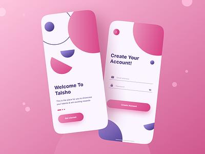 Talsho Login Screens dailyui login screen app interface interface event app colorful vibrant 2021 trend trendy modern cleanui ux research uxprocess uidesigner ui design ux uiux ui design minimal