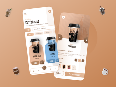 Coffee App vibrant modern trendy 3d app web app design microinteraction animation coffee buying ecommerce coffee colourful cleanui uiux minimalism minimal design graphic design ui