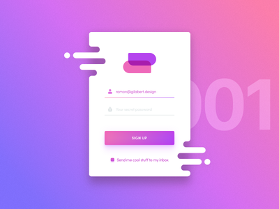 Daily UI #001 Sign up dailyui daily ui bright colorful flat liquid card form sign up signup