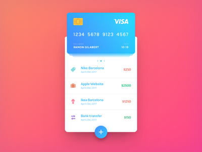 Daily UI #002 Transactions ui transactions card credit card flat colorful bright daily ui dailyui
