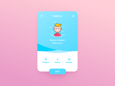 User Profile – Daily UI #005 shadows illustration vector typography ux ui design flat colorful bright daily ui dailyui