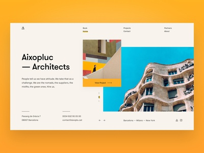 Aixopluc Architects Website grid layout uidesigner uidesign sketch brutal typography flat minimal clean architecture photography hero website ui dailyui