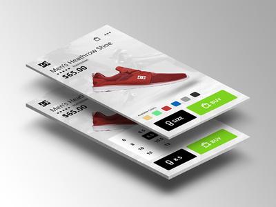 Mens Shoe Size Select Screen check out cart shop app ios debut shoes sketch