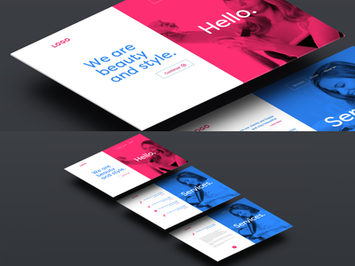 Hair Salon Welcome & Service Page redesign sketch ux page one clean minimal scrolling web ui