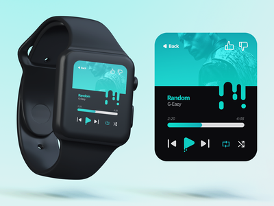 iWatch Music Player mockup photoshop black gradient icons interface ux ui sketch music iwatch