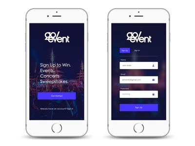 Login Screen for Go Event user experience user interface daily ux ui mockup sketch login