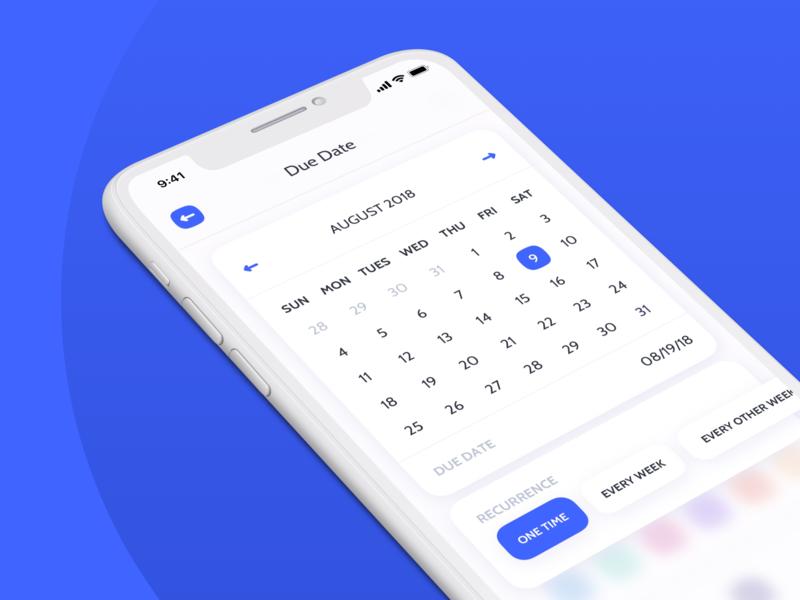 Due Date for Payment App simple minimal clean shadow blur iphonex blue payment calendars sketch ui