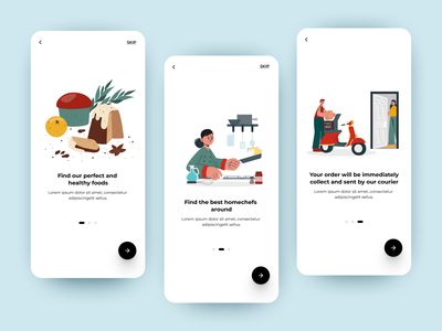 Food delivery App colors get started minimal ux ui mobile app design figma splash screen homechef delivery service food app delivery app food illustration