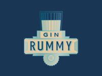 Gin Rummy linework illustration design classic old vintage blue glass spirits cards rum
