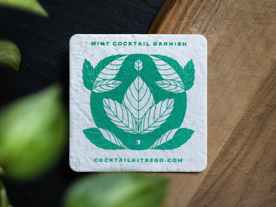 Plantable Mint Coaster sustainable leaf leaves plantable plant design print green coaster mint