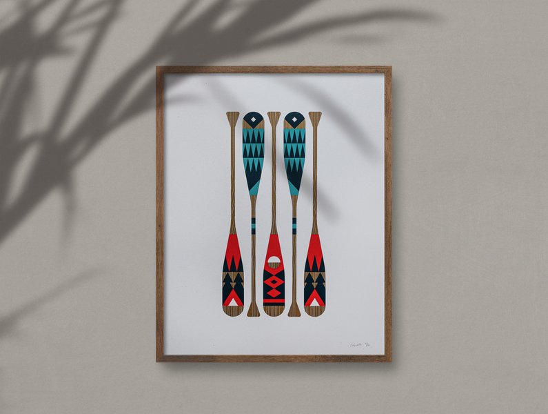 Wild Oars (Posters For Parks) copper nature design frame white blue green red camping camp aurora borealis aurora wood north parks illustration paint oar paddle poster