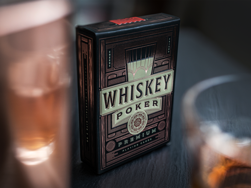 Whiskey Poker Playing Card Deck whiskey foil stamp copper packaging design foil poker deck cards