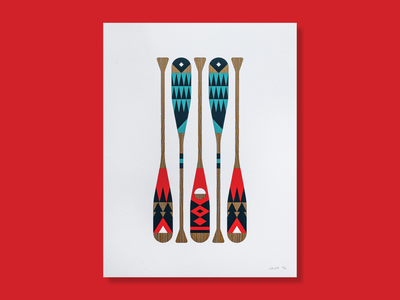 Posters For Parks tent camp camping aurora borealis aurora red ink print nature wild canoe painted minnesota north water paddle oar park poster