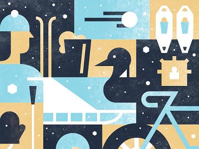 Loppet Poster Sneak Peek loppet snow blue winter illustration shapes gold loon snowball skiing skier