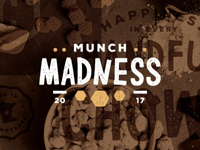 Munch Madness! sweet gold white type awesome taste madness flavor peanut butter chocolate logo