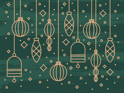 Sparkle, Sparkle joy merry illustration sparkle shiny design lines ornaments gold green christmas