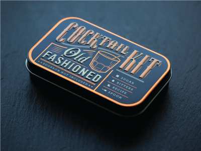 Cocktail Kits (Old Fashioned) typography foil tin copper design packaging vintage whiskey old fashioned