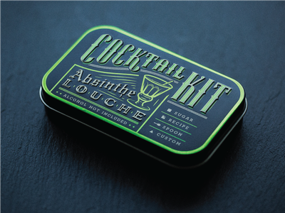 Cocktail Kits (Absinthe) vintage tin foil packaging design absinthe green cocktail
