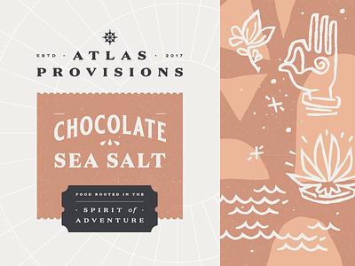 Atlas Provisions (Chocolate Sea Salt) popcorn food adventure discovery sea salt chocolate yum packaging design
