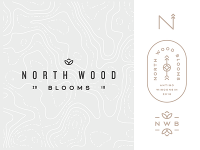 North Wood Blooms flowers floral nature monogram wood gold topography branding logo design north