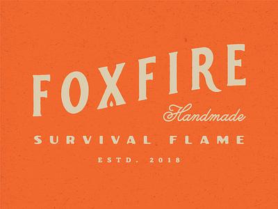Foxfire survival nature outdoor handmade vintage gold logotype design orange fire