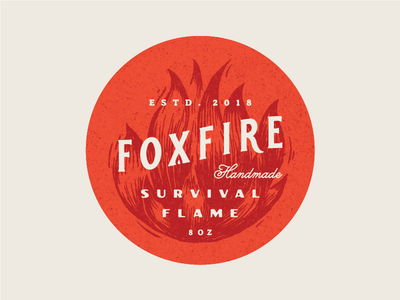Foxfire Sticker survival nature outdoor handmade vintage gold logotype design orange fire