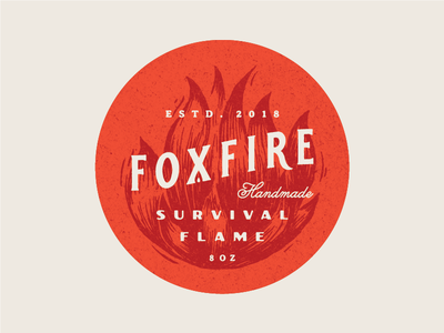 Foxfire Sticker survival nature outdoor handmade vintage gold logotype design orange fire