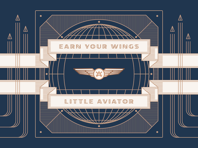 Little Aviator retro vintage navy copper aviator top gun art deco design