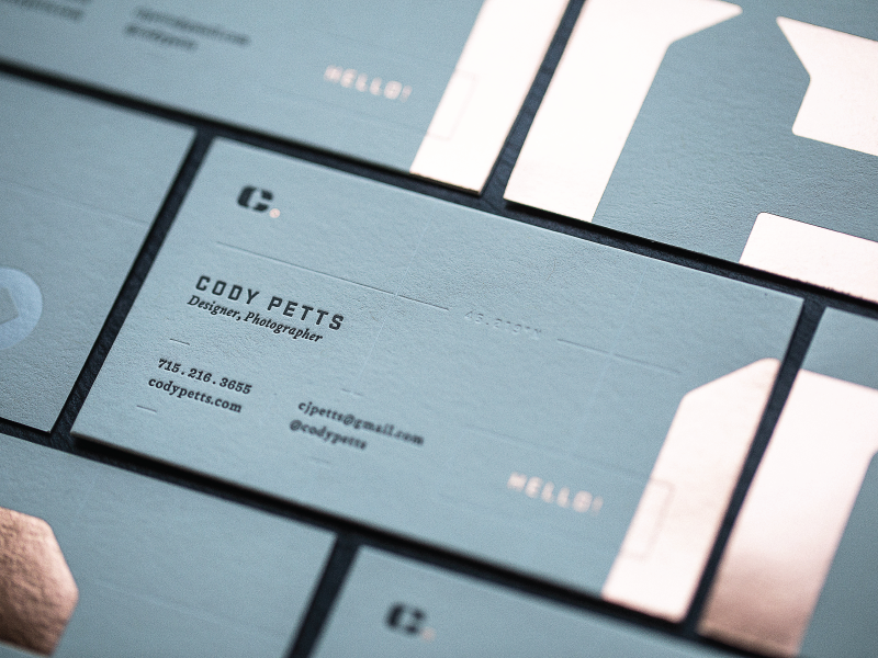 New business cards by cody petts dribbble finally got some new business cards made had fun with some various print techniques colourmoves