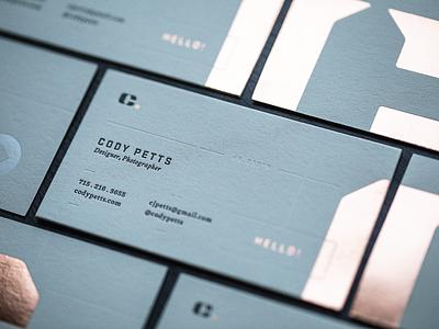 New Business Cards foil print design letterpress copper business card